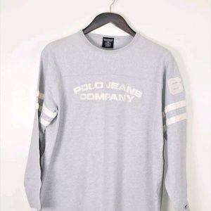 Polo Jeans Co Embroidered Gray Pullover T shirt